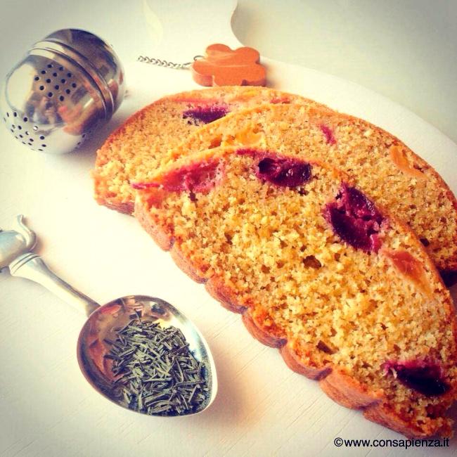 plum cake tè verde e ciliegie
