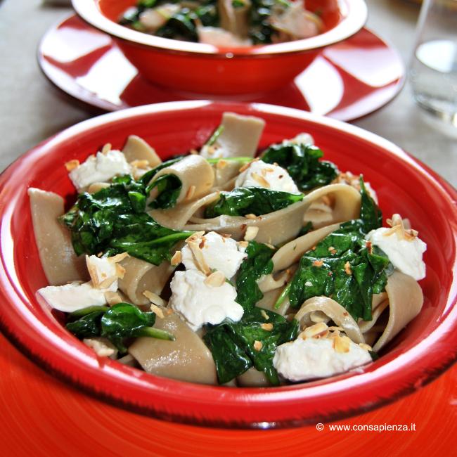 Pappardelle spinaci e ricotta